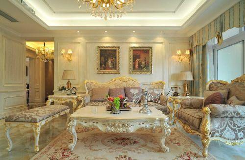 欧式浪漫米色客厅装潢案例