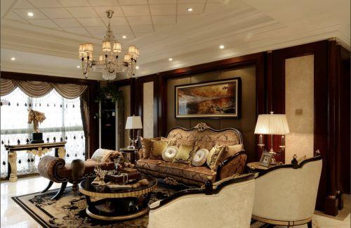 欧式风格质感红色客厅装饰图
