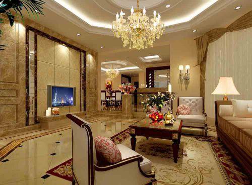 欧式别墅客厅装修整体效果图片欣赏