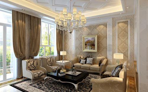 欧式风格大气米色客厅装修设计2016