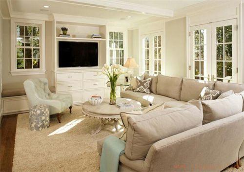 米色淡雅2016欧式风格客厅装修布置