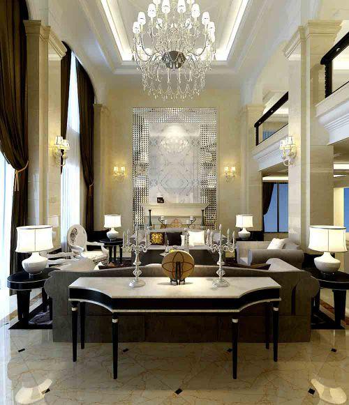 欧式白色大方客厅装修效果图