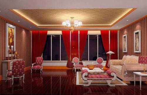2016红色奢华欧式客厅设计图