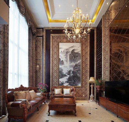 欧式风格典雅黄色客厅效果图设计