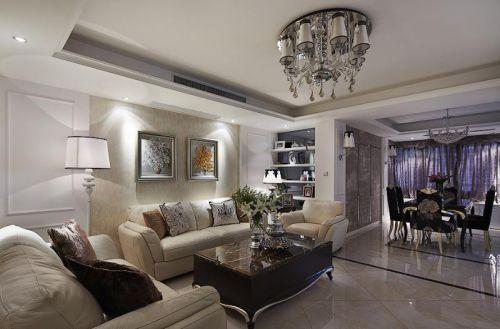 欧式风格白色大气客厅设计案例