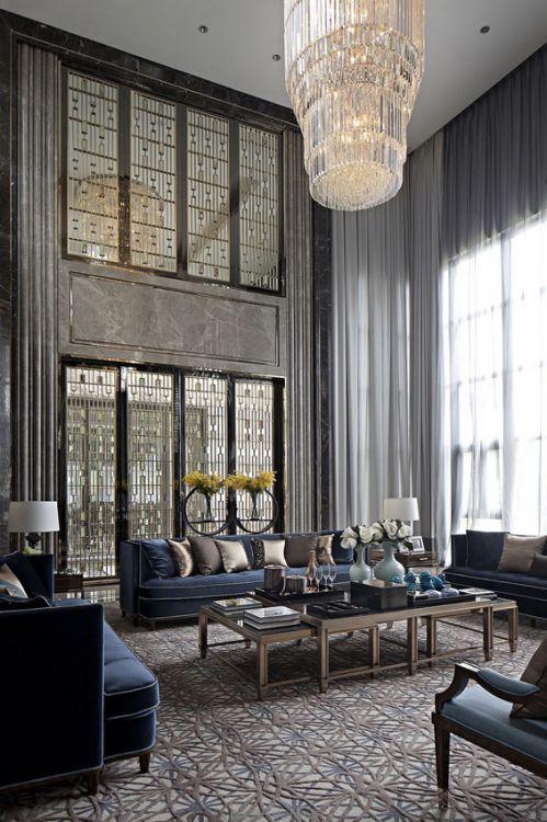 欧式风格灰色大气客厅装饰案例