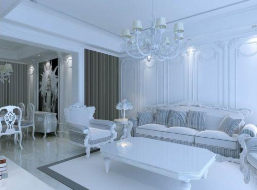 欧式风格白色精致客厅赏析
