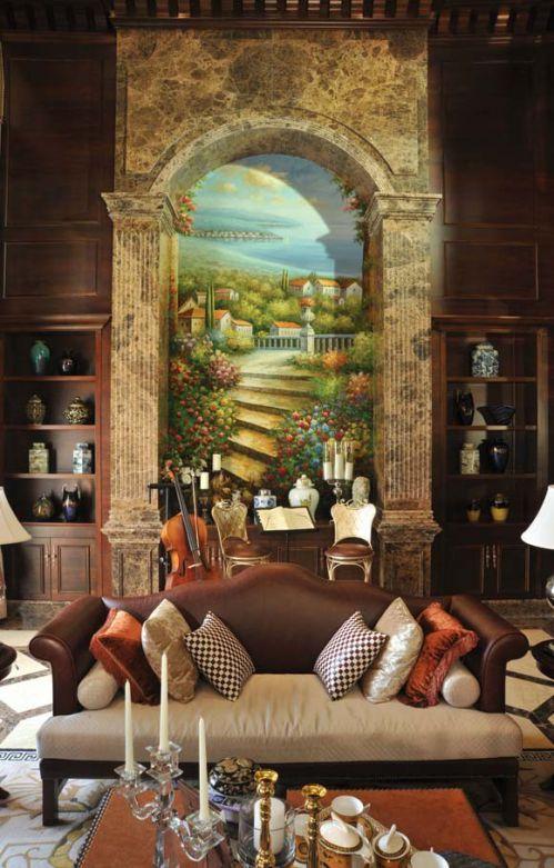 艺术风欧式客厅背景墙图片欣赏