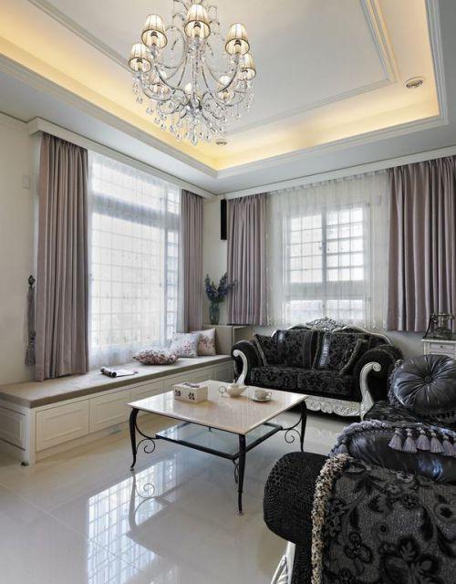 米色欧式风格客厅飘窗装修设计