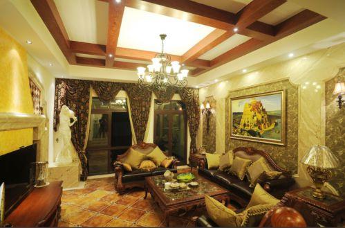 黄色质感欧式风格客厅装修效果图片