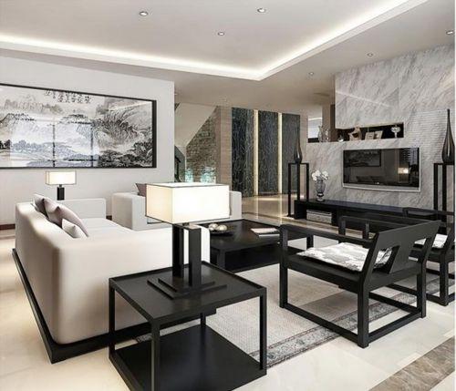 黑白新中式创意风格客厅美图欣赏
