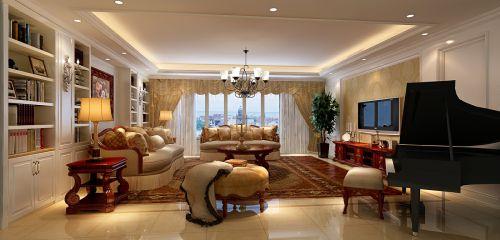 华丽轻奢欧式橙色客厅装潢装饰图
