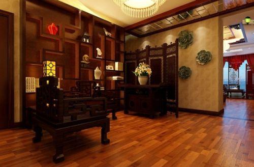 红色中式风格典雅客厅吊顶赏析