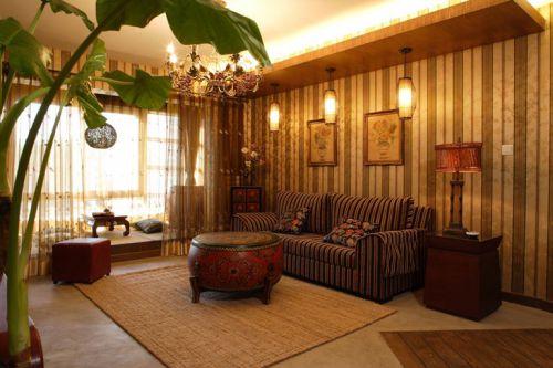 温馨黄色中式风格客厅装潢案例