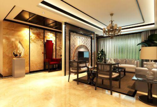 精致低奢新古典混搭橙色客厅美图