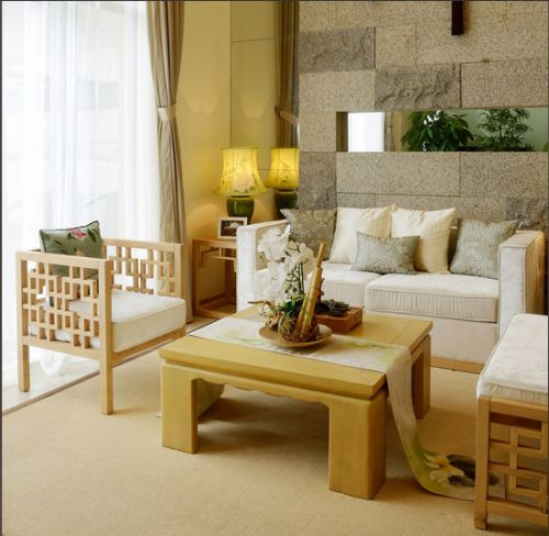 中式风格素雅黄色客厅装修图