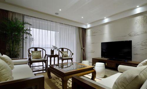 典雅复古新中式风格白色客厅装修设计图片