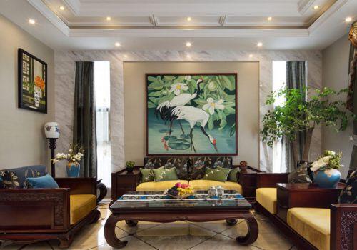 挂画中式沙发背景墙设计