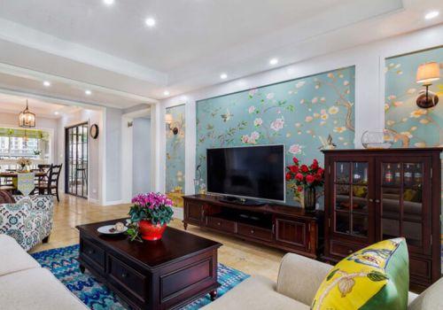 鸟语花香中式客厅背景墙美图