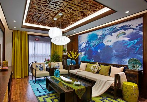 雅致中式客厅背景墙欣赏