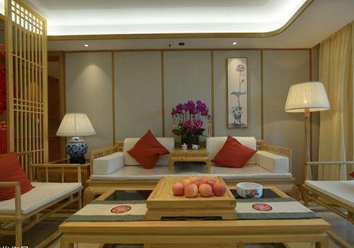 原木中式客厅沙发背景墙美图