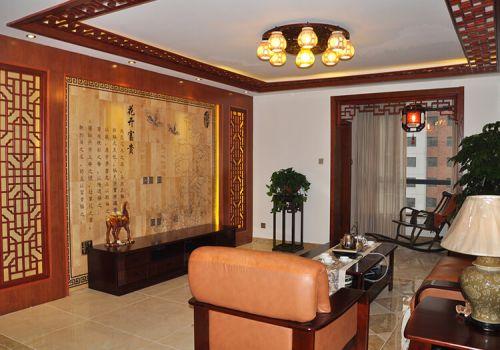 金色中式客厅背景墙欣赏