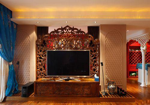 镂空雕花客厅背景板欣赏