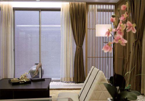 褐色典雅中式风格客厅窗帘欣赏