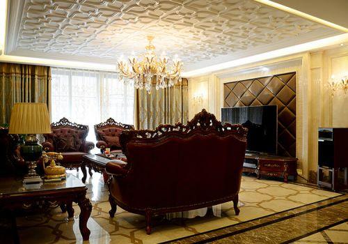纹理华美中式客厅吊顶设计