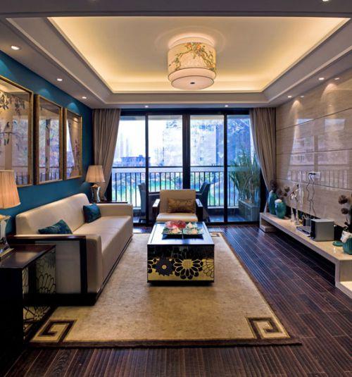 中式风格素雅米色客厅设计图片