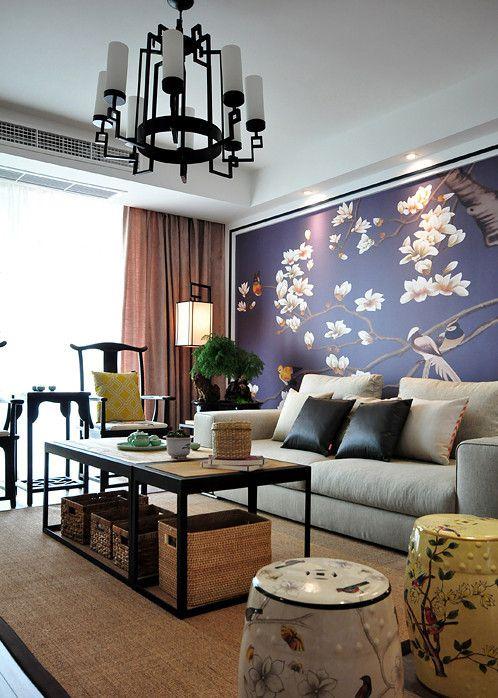 中式风格高贵紫色客厅装修美图