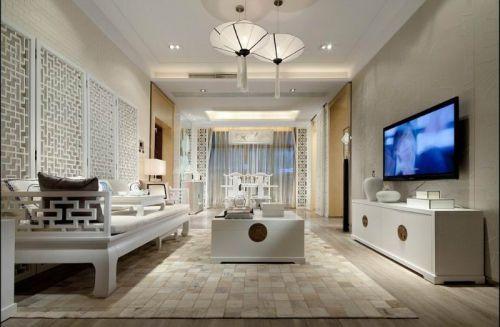 白色创意新中式风格客厅设计装潢