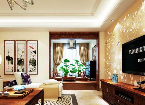 白色中式风格客厅装饰设计图片