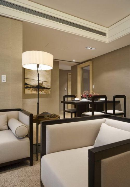 米色中式客厅图片欣赏