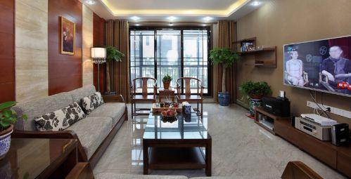 中式褐色客厅效果图欣赏