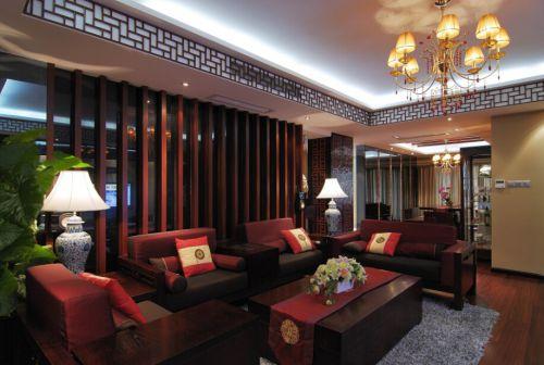 中式红色雅致客厅隔断装修图片