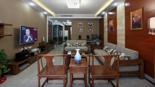 中式褐色客厅装修效果图片