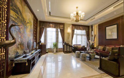 中式风格黄色雅致客厅装修图