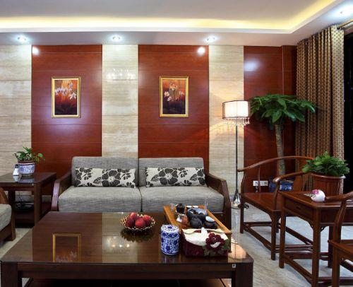 中式风格原木色客厅装修图片