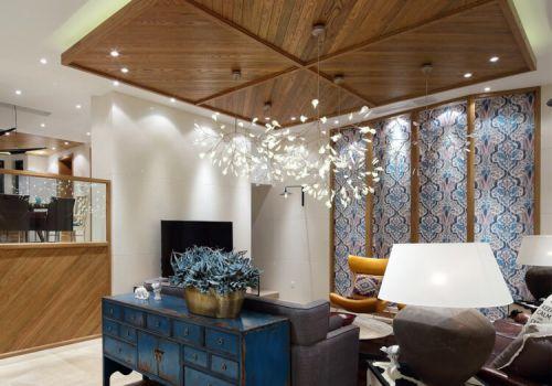 原木中式客厅吊顶设计