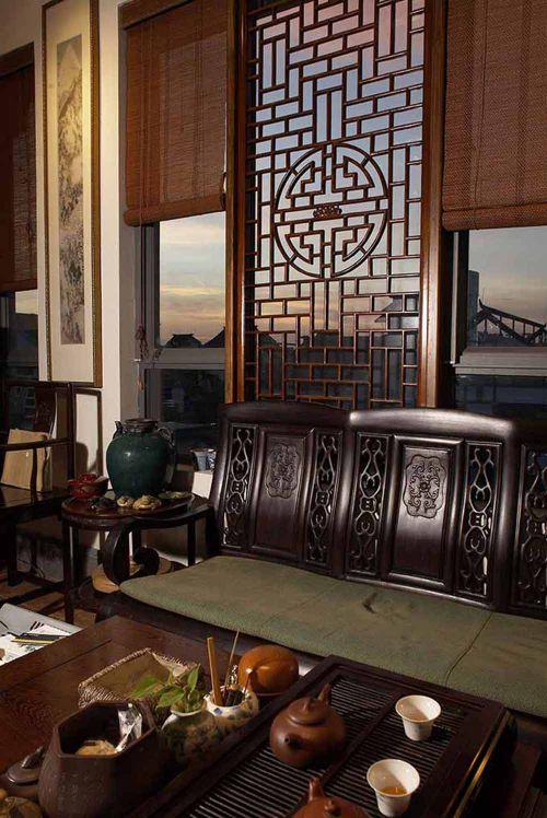 闲适恬淡中式客厅装潢效果图
