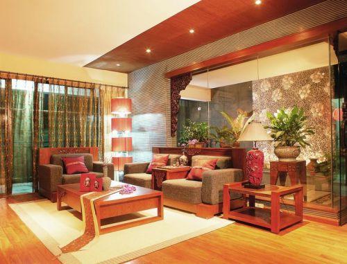 中式风格橙色客厅窗帘图片欣赏