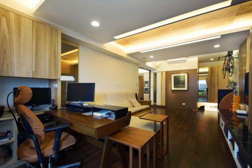 新中式客厅书房效果图