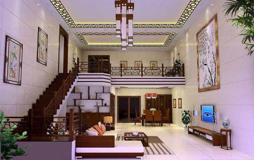 典雅新中式风格复式客厅装修