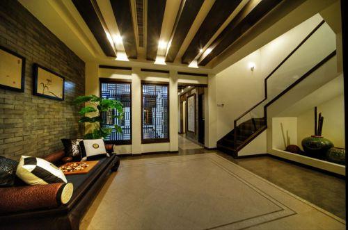 褐色中式风格客厅隔断装修设计欣赏