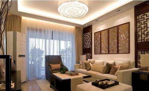 中式风格素雅米色客厅装修欣赏