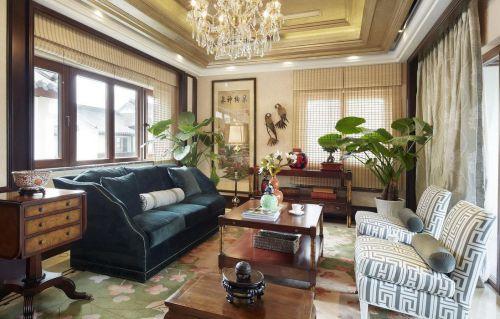 中式风格温馨黄色客厅装修效果图片