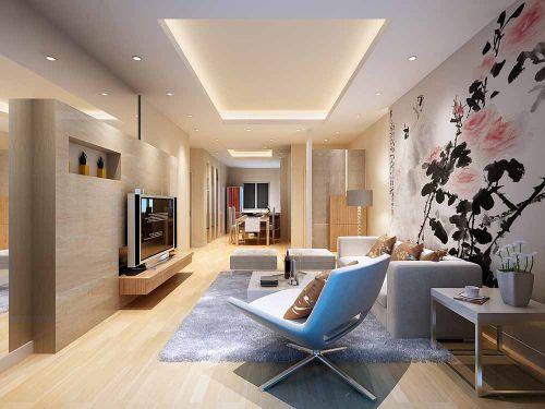 混搭新中式文艺明亮客厅装潢