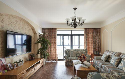 红色田园风格客厅窗帘设计图片
