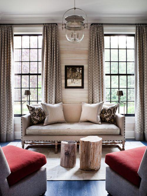 优雅复古田园风格客厅窗帘装修图片
